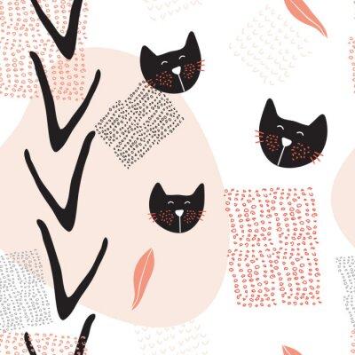Плакат Ручной обращается абстрактные бесшовные модели фон с милыми кошками