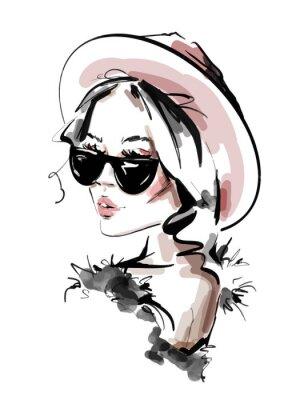 Плакат Hand drawn beautiful young woman in sunglasses. Stylish elegant girl. Fashion woman look. Sketch. Vector illustration.