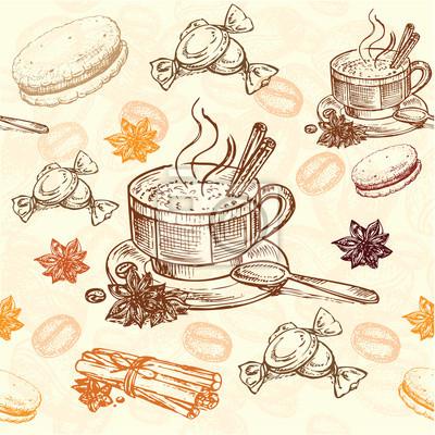 Плакат рисованной картины кофе