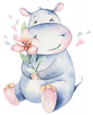 Плакат Hand drawn cute isolated tropical summer watercolor hippo animals. hippopotamus baby and mother cartoon animal illustrations, jungle tree, brazil trendy design. Aloha collection.