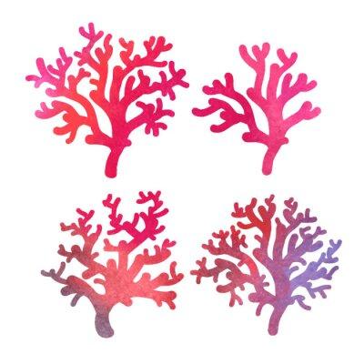 Плакат рисованной акварель декоративные кораллы