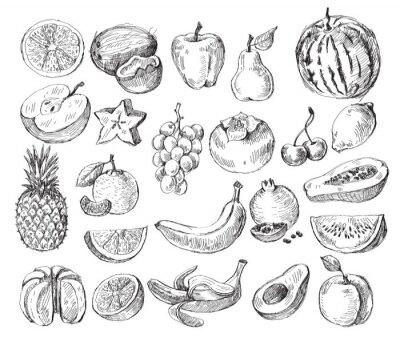 Плакат рисованной фрукты