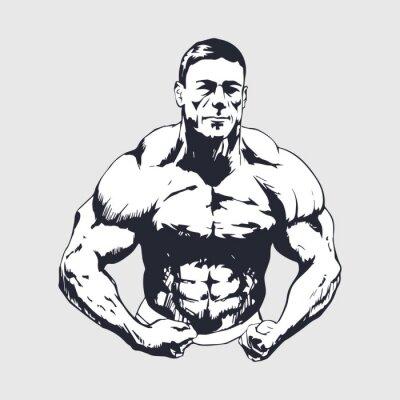 Плакат Ручной обращается мускулистый мужчина - Культурист
