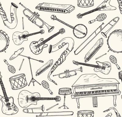 Плакат Ручной обращается музыкальные инструменты.