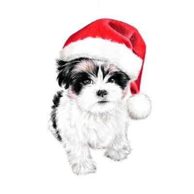 Плакат рисованной щенок с Санта-Клауса шляпу, мило весело Новогодняя открытка клипарт, эскиз собаки цветной карандашный рисунок, праздник клип искусства иллюстрации на белом фоне