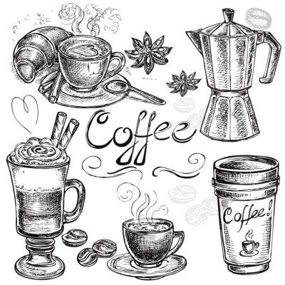 Плакат рисованной Набор сбора кофе