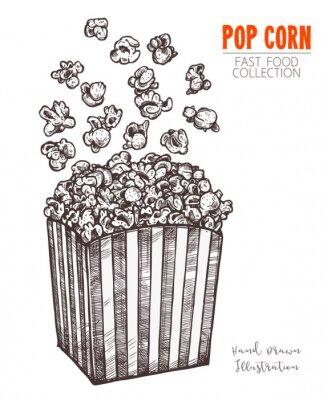 Плакат Ручной обращается эскиз попкорн, кино закуски в стиле гравировки. Векторная иллюстрация полной коробки с полетом кукурузы. Символ быстрого питания, кино, развлечений. Вектор на белом фоне