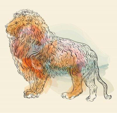 Плакат Ручной обращается векторные иллюстрации с лев