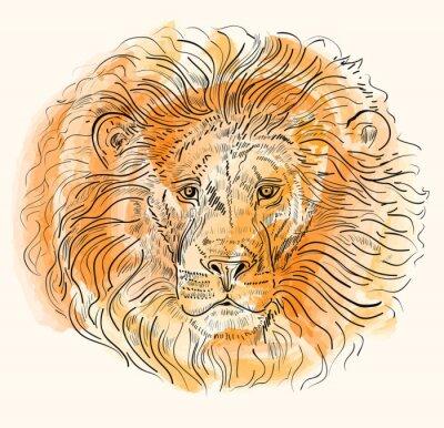Плакат Рука обращается векторные иллюстрации с головой льва