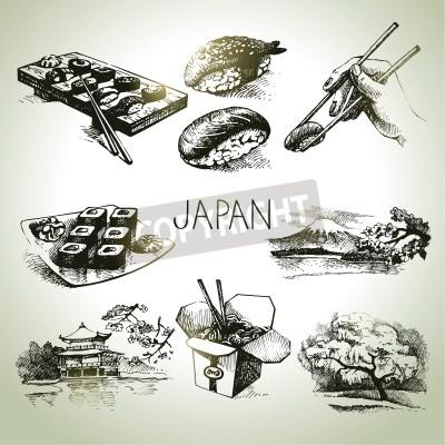 Плакат Рисованной старинные японский набор
