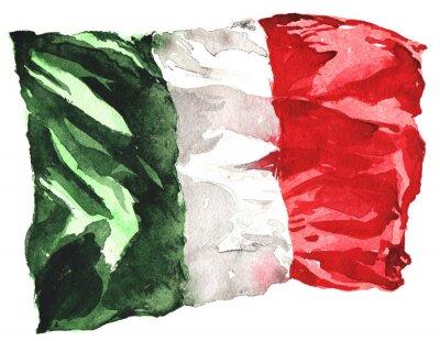 Плакат рисованной акварель флаг Италии - реалистичный, развевающиеся я