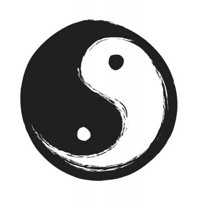 Плакат рисованной символ инь янь гармонии и равновесия, элемент дизайна