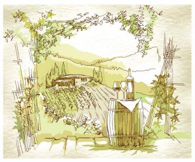 Плакат Ручная эскиза поля и виноградники винограда.