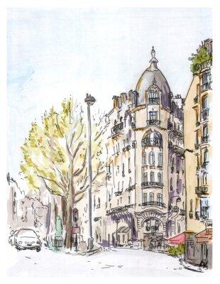 Плакат Ручная роспись цветной эскиз Парижа улице