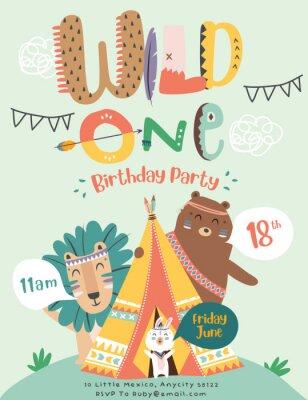 Плакат Happy birthday party invitation card with cartoon tribal animals. Vector illustration - Vector