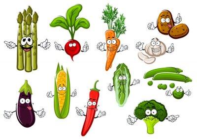 Плакат Счастливые фермы овощи героев мультфильмов