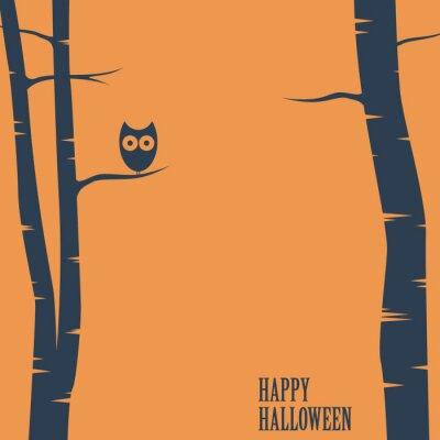 Плакат Счастливый Хэллоуин карты с совой, сидя на дереве. Отдых открытку