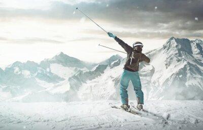 Плакат Счастливый Лыжник
