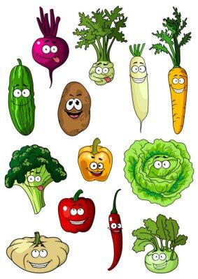 Плакат Happy smiling fresh garden vegetables