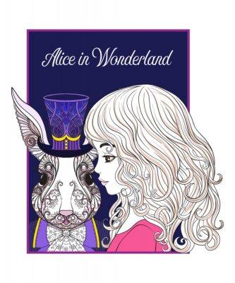 Плакат Заяц или кролик в шляпе из сказки Алиса в Wonderla