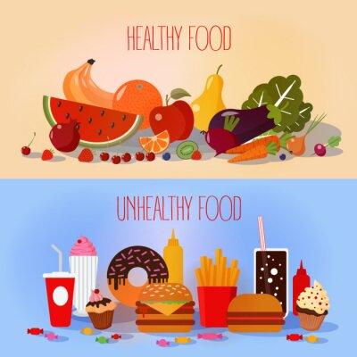 Плакат Здоровое питание и нездоровый быстрого приготовления