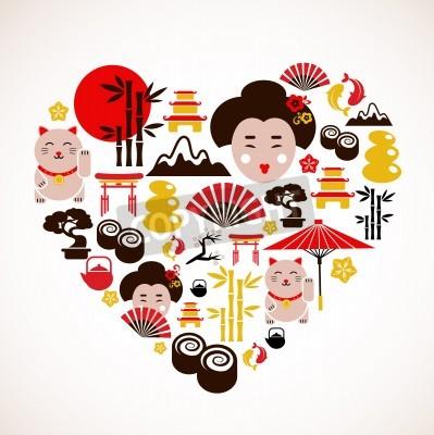 Плакат Сердце формы с Японией иконок