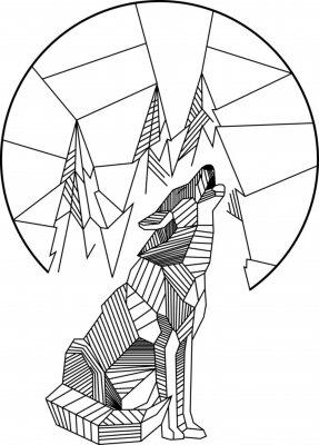 Плакат Воющий волк Геометрический