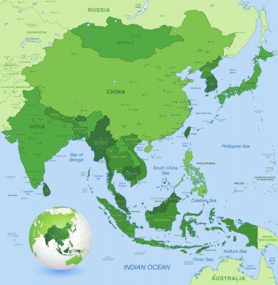 Плакат Высокая детализация векторная карта Дальнего Востока Азии