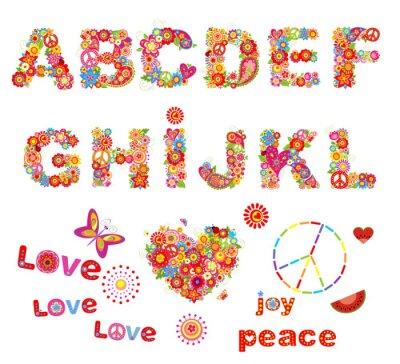 Плакат Хиппи цветочный алфавит с забавными красочными цветами. Часть 1