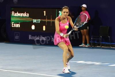 Плакат Хуа Хин, Таиланд - 1 января 2016: Радваньская занимает 5-е в мире. Мир Теннис Таиланд Чемпионат 2016 по Правда Арена Хуа Хин спортивного клуба, Прачуапкхирикхан.