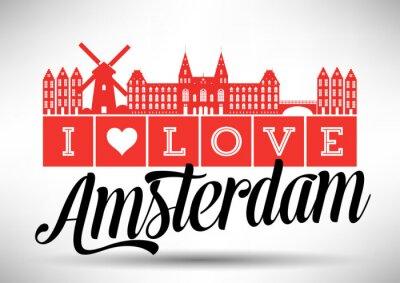 Плакат I Love Amsterdam Skyline Design