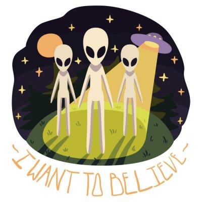 Плакат Я хочу верить, векторный плакат (фон) с инопланетянами на холме и НЛО в ночь с полной луной и звездами (мультяшном стиле)