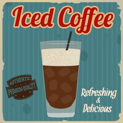 Плакат Замороженный кофе ретро постер