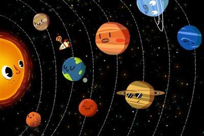 Плакат Иллюстрация для детей: счастливый планет в Солнечной системе. Реалистичная Фантастический мультфильм Стиль Произведение / История / Сцена / Обои / Фон / Card Design.