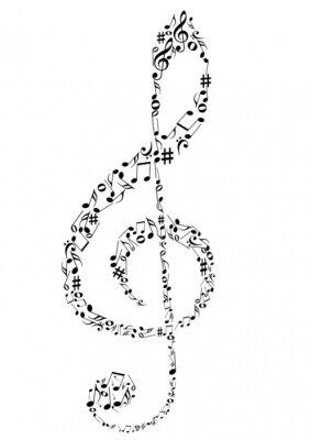 Плакат Иллюстрация G ключ с ноты