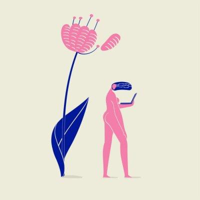 Плакат иллюстрация обнаженной девушки с блокнотом под цветком, человеком, природой, экологией и технологией, розовой и синей цветовой схемой