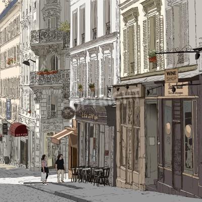 Плакат иллюстрация улице Монмартр в Париже