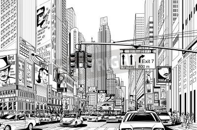 Плакат Illustration of a street in New York city
