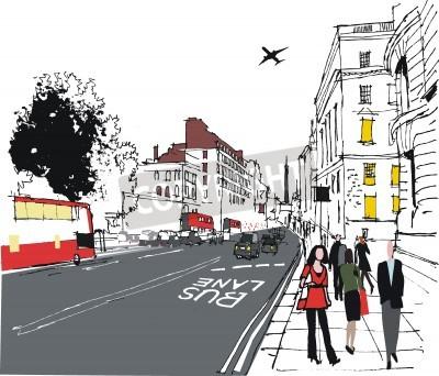 Плакат Иллюстрация пассажиров на Лондонской городской улицы