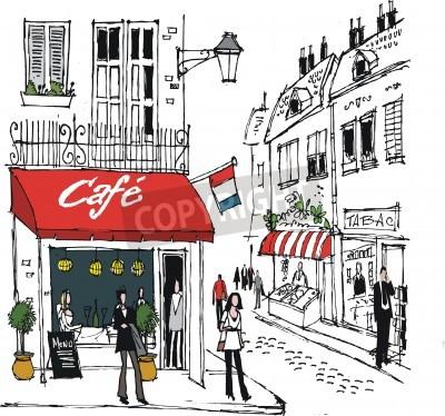 Плакат Иллюстрация французской деревне кафе улицы сцены