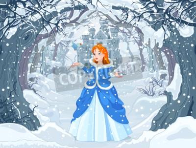 Плакат Иллюстрация принцессы с птицей рядом с Волшебным зимним замком