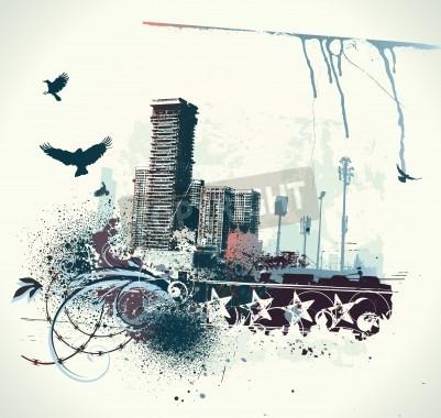 Плакат Иллюстрация городской фон с гранж окрашенных элементов дизайна