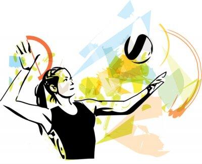 Плакат Иллюстрация волейболист игры