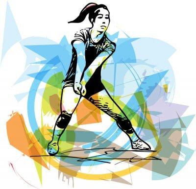 Плакат Illustration of volleyball player playing