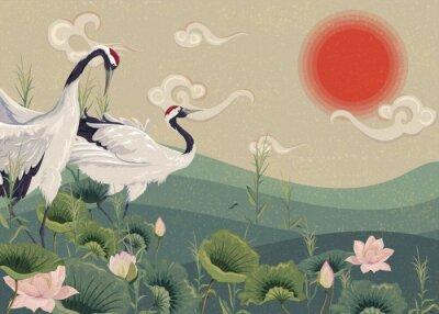 Плакат Иллюстрация с японскими журавлями в озере на закате