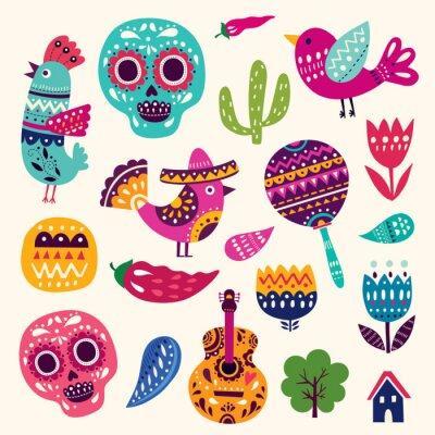 Плакат Иллюстрация с символами Мексики