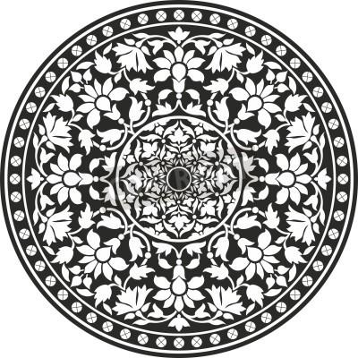Плакат Индийский традиционный узор из черного и белого - цветок мандалы