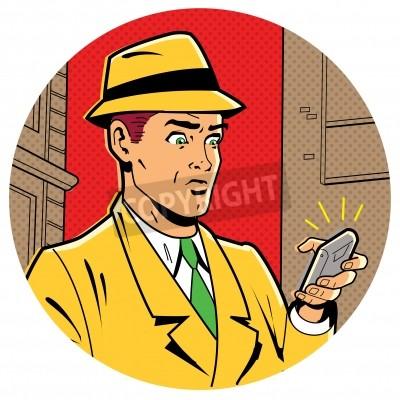 Плакат Иронический Сатирическая Иллюстрация ретро классический Comics Человек с Fedora и современный смартфон