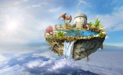 Плакат остров дракон летит в космосе