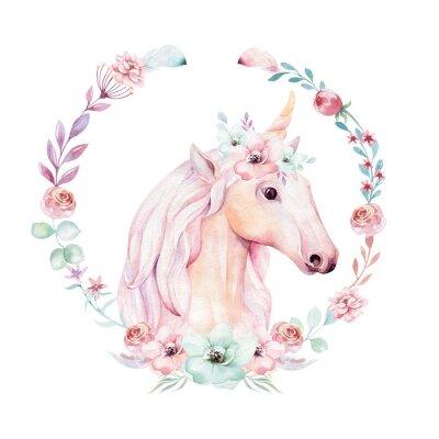 Плакат Изолированные милый акварельный клипарт единорога с цветами. Иллюстрация детского сада. Принцесса радуги плакат. Модный розовый конский конь.